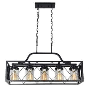 Industrial lighting- Baiwaiz Black Pendant 5 Light Dining Room Light with Clear Seeded Glass Shade