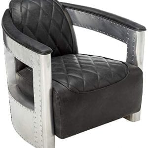 Industrial Chairs/Bar Stools-Pulaski Modern Industrial Metal and Leather Aviation Accent Arm Chair