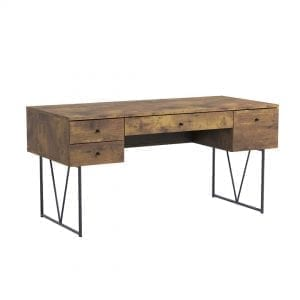 Industrial Home Office Desks-Analiese 4-Drawer Writing Desk Antique Nutmeg and Black