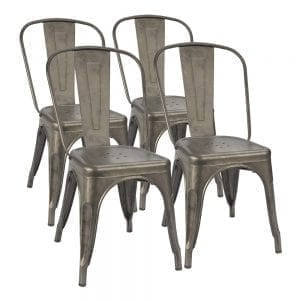 Furmax Gun Metal Industrial Dining Chair