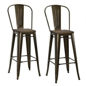 "DHP Luxor Industrial Metal Counter Stool with Wood Seat and Backrest, Set of two, 30"", Antique Bronze"