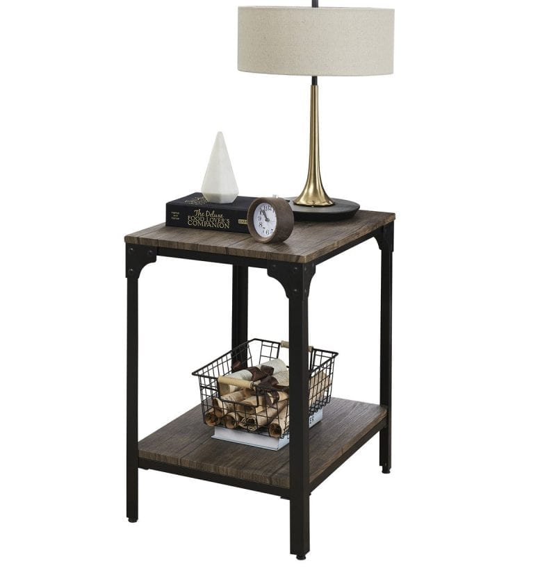 Industrial End Table Night Stand Rustic Metal and Wood