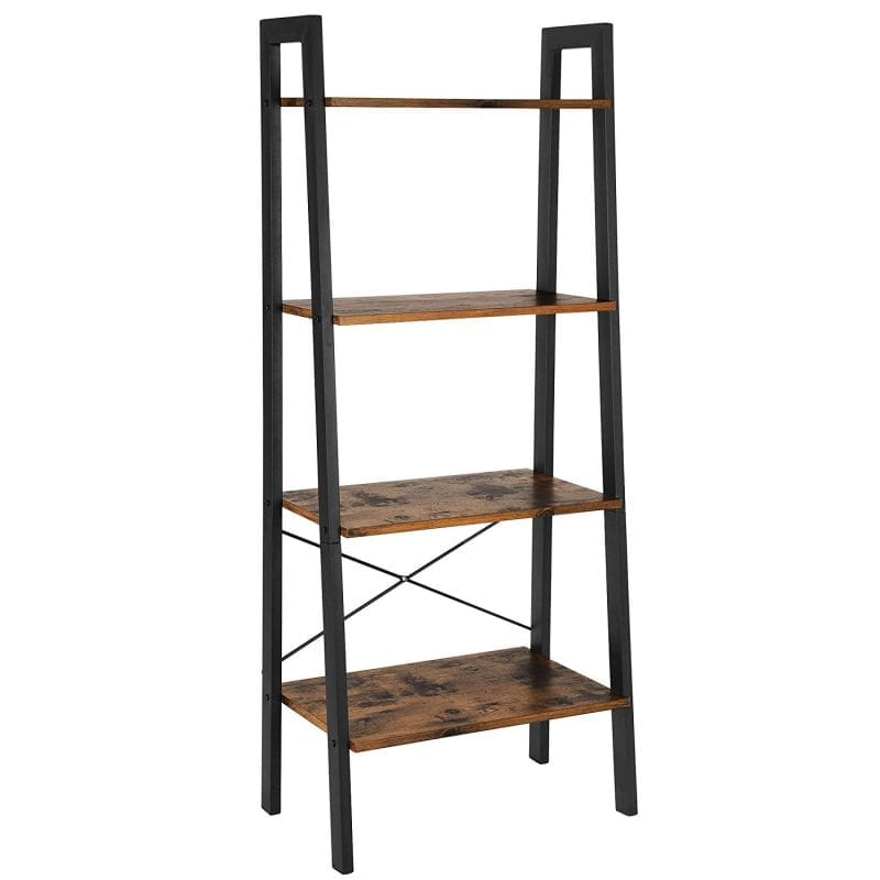 Industrial Shelving-Ladder Shelf, 4-Tier Bookshelf, Storage Rack Shelves, Bathroom, Living Room, Metal Frame, Rustic Brown