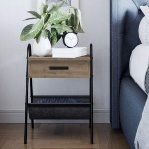 Nathan James Industrial Nightstand Accent Rustic Wood Table