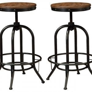Industrial Chairs/Bar Stools- Pinnadel Wood and Metal Industrial Bar Stool - Pub Height - Set of 2 - Rustic Brown