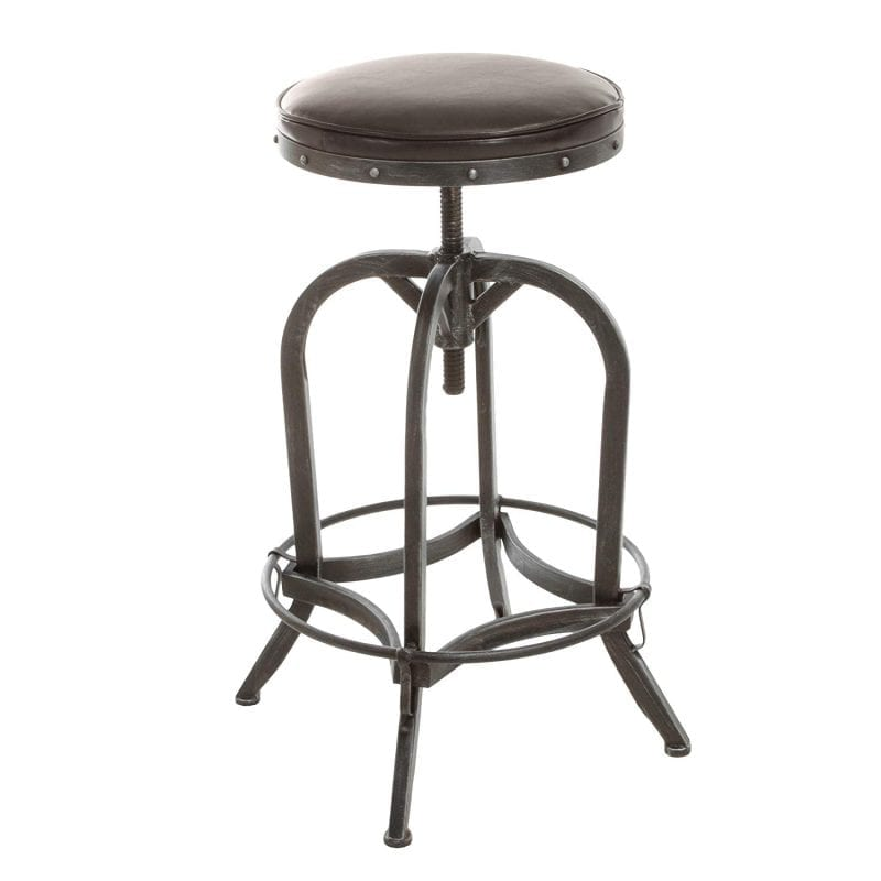 Dempsey Rustic Industrial Swivel Adjustable Bar Stool
