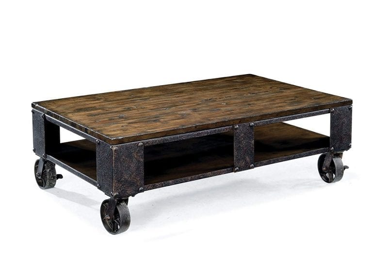 Industrial Coffee/End Table- Pinebrook Distressed Natural Pine Wood Rectangular