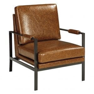 Signature Design - Peacemaker Industrial Accent Chair - Mid Century Modern - Brown - Antique Brass Legs