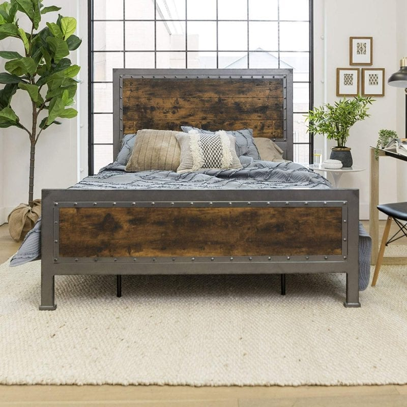 Industrial Style Rustic Queen Wood/Metal Bed