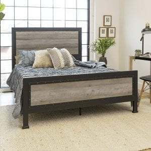 Queen Rustic Industrial Wood/Metal bed