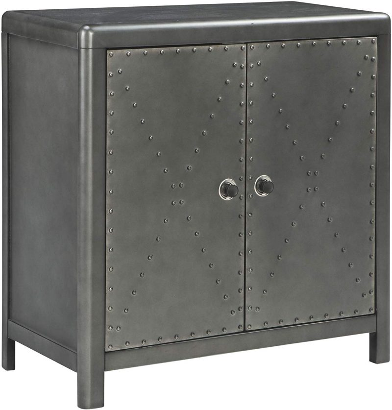 Industrial 2-Door Accent Cabinet Antique Gunmetal Finish