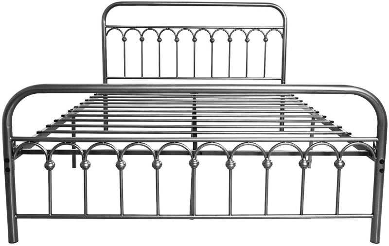 Industrial Metal Bed Frame Queen Size with Vintage Headboard and Footboard
